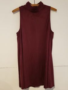 AX Paris Burgundy High Neck Flowy Dress